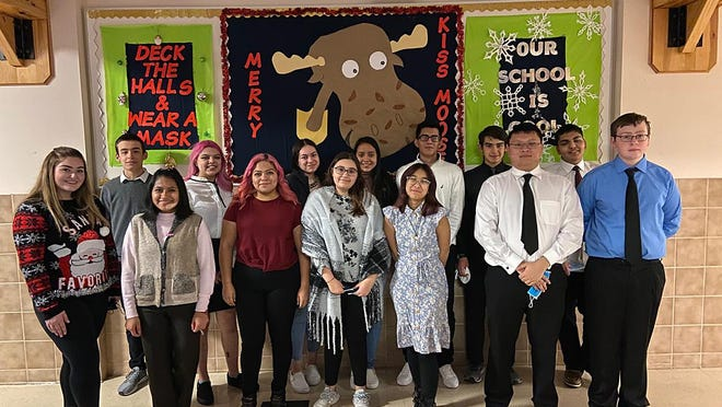 A group of 16 debaters from Dodge City High School competed at two tournaments this past weekend, winning the sweepstakes title at the Clay Center Tournament. Team members include Autumn Klein, Mariela Lopez, Yesenia Guzman, Camillah Khan, Trinady Luangchai, Brian Nguyen and Owen Wesley and Joel Soto, Angelica Plata, Leslie Galdamez, Alejandra Del Real, Hever Arjon, Christopher Montford and Yamir Gardena.