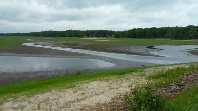 A channel of water runs through what was Sherwood Lake in 2014.