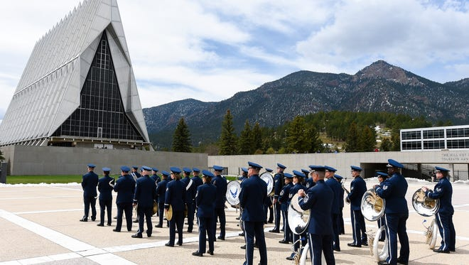 Air Force Academy cadets ready themselves before paying the annual tribute to the Tuskegee Airmen with a wreath laying ceremony and parade at the US Air Force Academy in Colorado Springs, Colorado on Tuesday May 2, 2017.