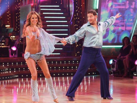 Jeffrey Ross and Edyta Sliwinska on the set of 'Dancing