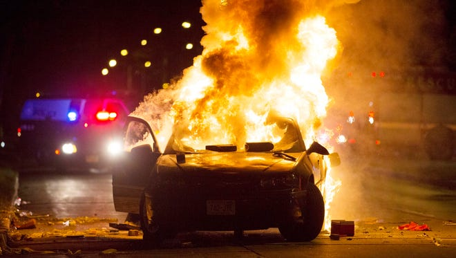 The aftermath of a riot in Milwaukee on Aug. 14, 2016.