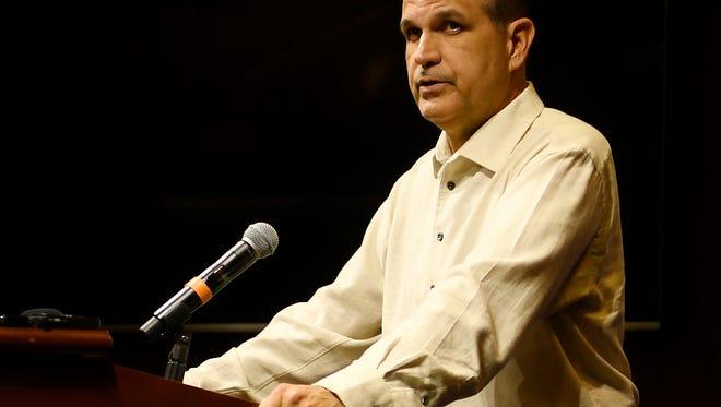 Auburn defensive coordinator Kevin Steele talks to media on Oct. 24, 2017 in Auburn, Ala.