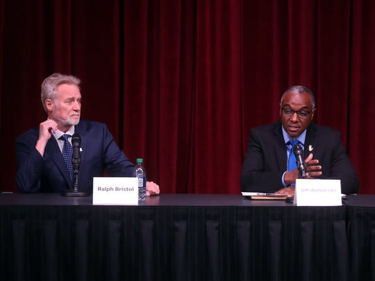 Ralph Bristol, jeff obafemi carr and David Hiland participate in a mayoral candidate forum hosted by The Tennessean and WSMV at the Nashville Public Library Downtown branch Wednesday May 2, 2018.