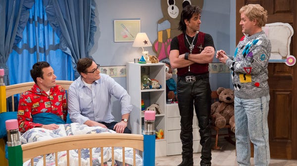 Jimmy Fallon with Bob Saget, John Stamos and Dave Coulier.