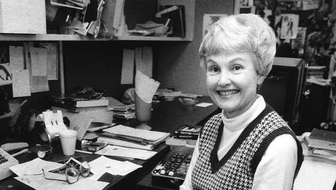 Joan Kay, a Louisville native who was known to friends as gracious, smart and witty, was graduated from the University of Louisville in 1951 and shortly thereafter attended the University of Florence in Italy under a Fulbright scholarship.  In 1953 she began her journalism career at The Courier-Journal, as an assistant society editor.