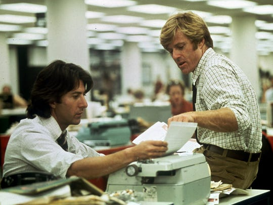 Robert Redford, right, and Dustin Hoffman portray Washington Post reporters Bob Woodward and Carl Bernstein in 'All the President's Men,' the story of the Watergate break-in and the fall of the Richard Nixon presidency.