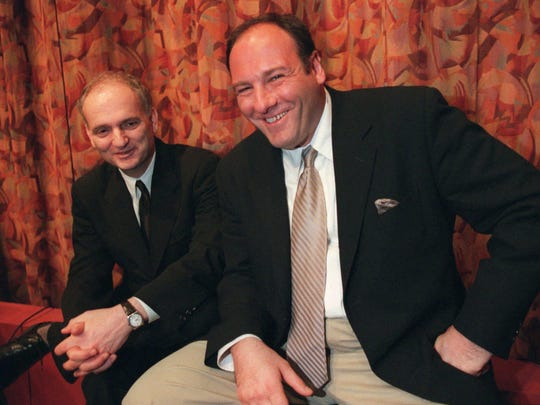 "Actor James Gandolfini, right, and David Chase, creator of the HBO television series ""The Sopranos,"" pose for a photo after a panel discussion at the Writers Guild in Beverly Hills, Calif., March 31, 1999."