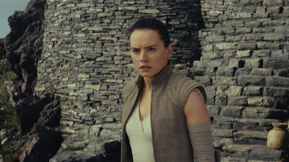 Rey (Daisy Ridley) gets her gameface on for 'Star Wars: