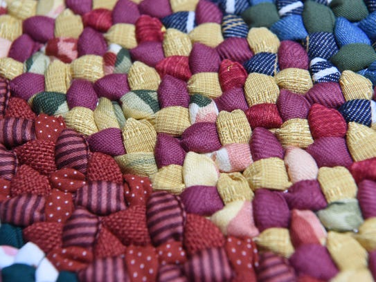 A close-up of one of Janice Helmer's braided rugs.