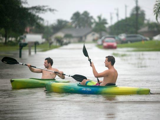 Maritz Wanke, left, and Marco Berg kayak on SW 15th