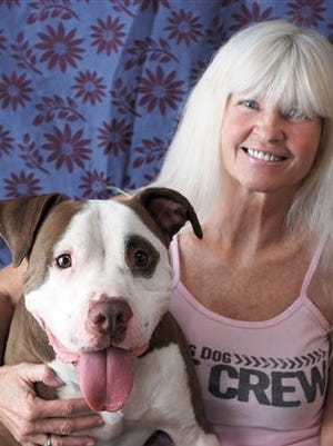 """In this photo provided by Smiling Dog Rescue, Rica Powell poses with Truman, a 4-year-old pit bull who will be up for adoption on """"Fox's Cause for Paws: An All-Star Dog Spectacular,"""" that is set for Thanksgiving and aims to find 35 dogs on set and thousands of others around the country a home by Black Friday. Powell's Smiling Dog Rescue in Tucson, Ariz., will bring some dogs to the telethon. The group she founded in 2007 specializes in pit bulls, the breed that accounts for 70 percent of dogs in rescues."""