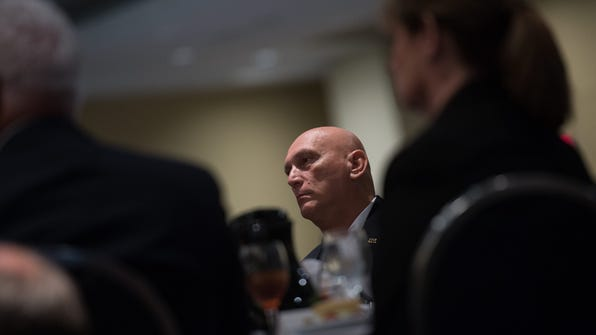 US Army Chief of Staff Gen. Ray Odierno listens to Defense Secretary Chuck Hagel speak at a luncheon during the Association of the United States Army (AUSA) Annual Meeting and Exposition in Washington, D.C., on Wednesday.