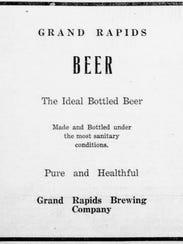 A Grand Rapids Brewing Company newspaper advertisement