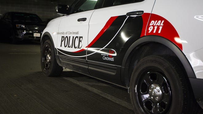 UCPD cars are parked outside the station in the Corry Garage on the campus of the University of Cincinnati.