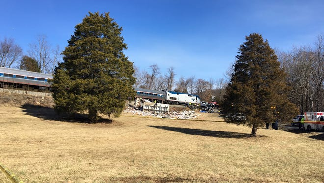 A train carrying Republican lawmakers to their retreat in West Virginia collided in Crozet with what appeared to be a garbage truck on Wednesday.
