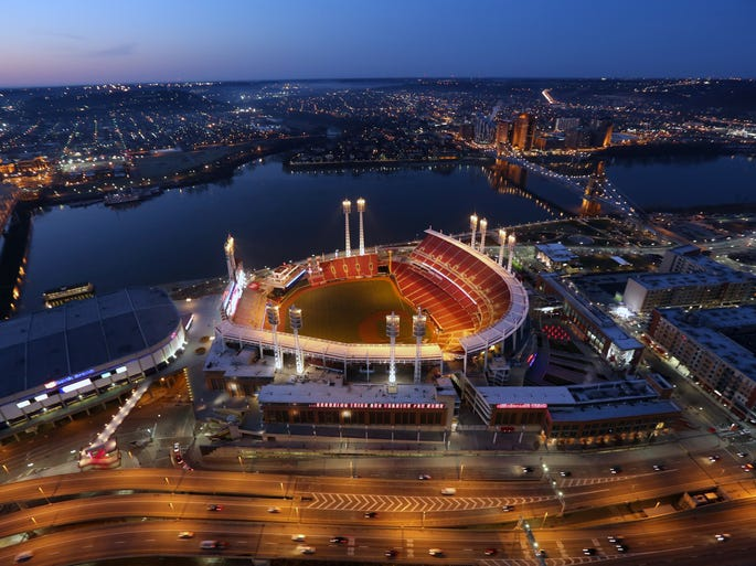 Great American Ball Park in the early morning light on Opening Day. The photo was taken from the Great American Tower at Queen City Square.