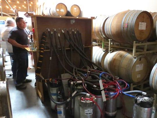 Kegs of beer made by members of the homebrewing group