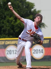 Andrew Bash pitches for Palm Desert during their CIF Southern Section victory over Ocean View at Palm Desert High School, Tuesday, May 26, 2015.