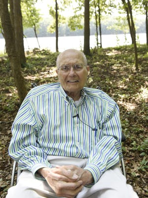 John Dingell sits in front of Humbug Marsh on the Detroit River International Wildlife Refuge on August 9, 2017. Ex-Rep. Dingell suggests he may leave hospital Tuesday after a heart attack he suffered Sept. 17, 2018.