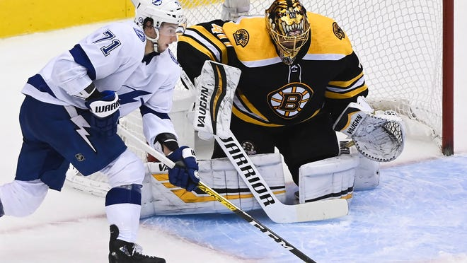 Bruins goaltender Tuukka Rask makes a save on Lightning center Anthony Cirelli during the second period Wednesday.