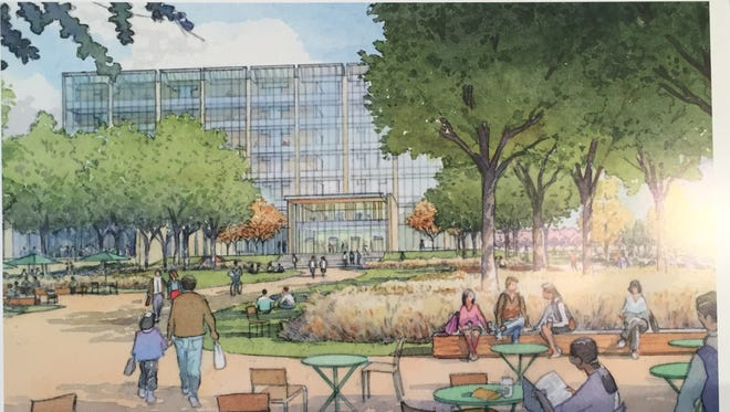 A rendering of the proposed justice center on the Near Westside.