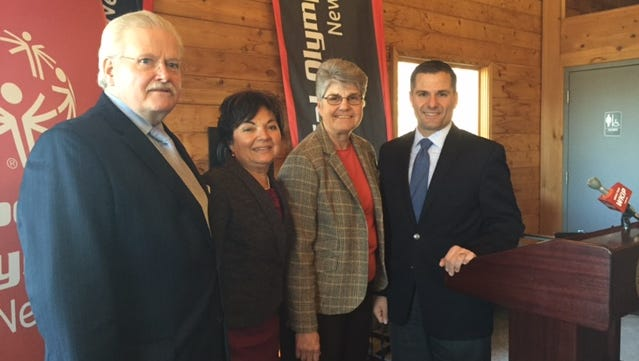 Pictured from left, Neal J. Johnson, President and CEO, Special Olympics New York; Gloria Cukar, Senior Director of External Affairs, MidHudson Regional Hospital; Mary Kay Vrba, President and CEO of Dutchess Tourism, Inc.; Marcus Molinaro, Dutchess County Executive.