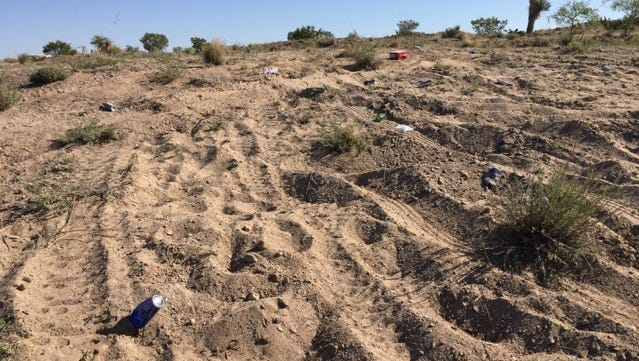 Beer bottles are seen Saturday, June 4, 2016, at a parcel of city-leased desert land in east Las Cruces after a rowdy party and gathering of ATV drivers the night before.