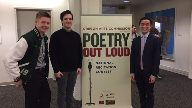 Finalists selected at the Central Regional Contest at Salem's Willamette University are (left to right): Joshua Williams, St. Stephens Academy, Salem; Max Rudd, Sprague High School, Salem (2016 regional finalist); and Philip Chan, West Linn High School.