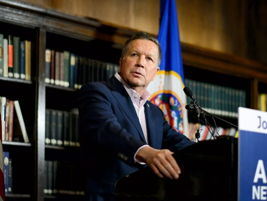 Ohio Gov. John Kasich speaks at a news conference in