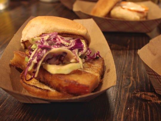 A pork bell slider at Oskar's Slider Bar