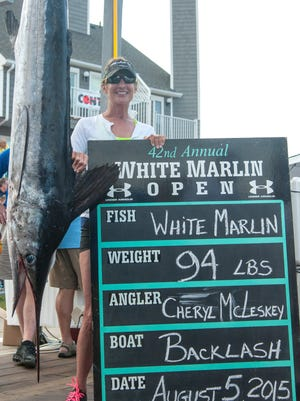 Cheryl McLeskey's 94-pound white marlin from 2015 was the third largest in tournament history.