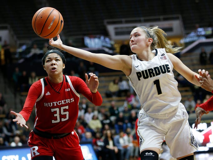 Karissa McLaughlin of Purdue grabs the ball in front