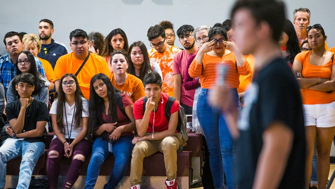 Alfonso Calderon, 16, a junior at Marjory Stoneman Douglas High School in Parkland, Florida, speaks to students at Metro Tech High School in Phoenix on the 19th anniversary of the massacre at Columbine High School.