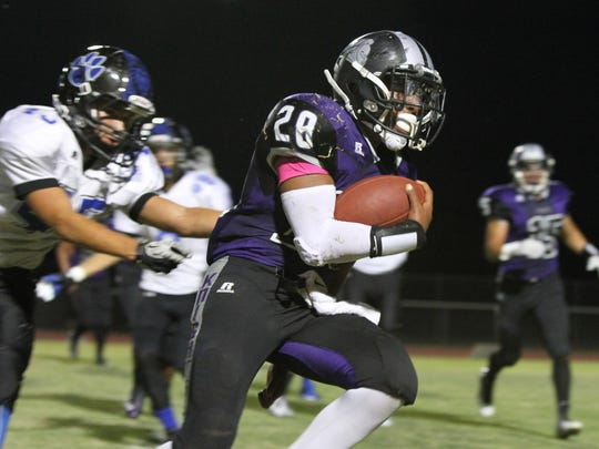 Shadow Hills' Tony Williams runs for a touchdown against Cathedral City. This could be an annual matchup if the Knights move to the Desert Valley League.