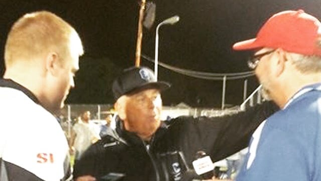 From left to right, Gazette sportswriter Derrick Webb, Chillicothe football coach Ron Hinton and WBEX's Dan Ramey talk after a contest at Herrnstein Field in 2015.