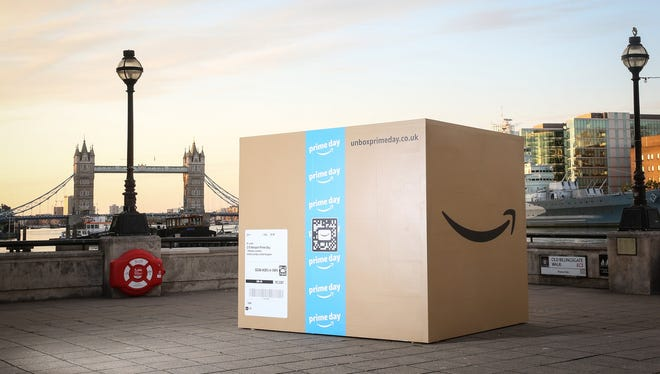 A 25-foot Amazon box sits near the Thames river in London as part of a series of events in anticipation of the company's Prime Day sale, which launches the evening of July 16 and runs for  36 hours.