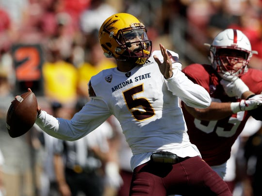 Arizona State quarterback Manny Wilkins throws against