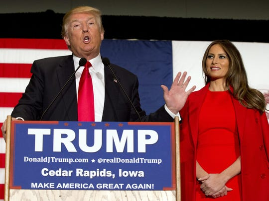 Melania Trump campaigns with husband Donald Trump on Feb. 1.