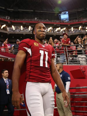 Arizona Cardinals' Larry Fitzgerald against the New England Patriots on Sep. 11, 2016 in Glendale, AZ.