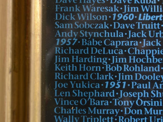 Jim Harding's name appears in a photo of the PSU Panthers with the names of all of those who lettered.