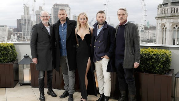 Jennifer Lawrence, center, with (left to right) Francis