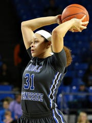 TiAnna Porter (31) was a huge reason why MTSU was still in the game at the half.