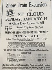 Stearns History Museum has in its archives a snow train schedule from 1940. Twin Cities residents traveled aboard the Great Northern Railway to revel in winter activities at the Sli-Ski-Ska Festival in St. Cloud.
