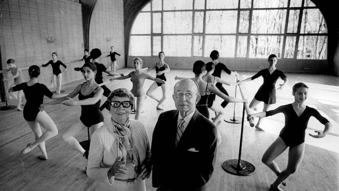Enid Knapp Botsford Orcutt, left, and her husband, Brent Orcutt, stand among some of the young dancers in their Botsford School of Dance.