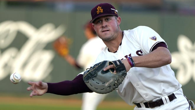 Arizona State infielder Spencer Torkelson (20) was the first pick in the 2020 MLB draft to the Detroit Tigers.