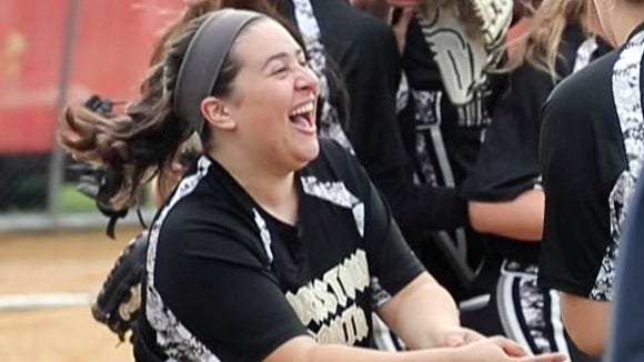 Clarkstown South celebrates after defeating North Rockland 3-1 in a Section 1 Class AA first round softball playoff game at North Rockland High School May 18, 2018.