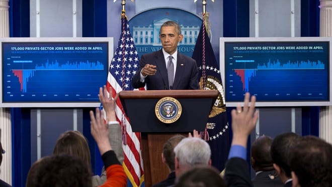 President Barack Obama takes questions in the White House briefing room in Washington last week. The president spoke about the economy and new steps to strengthen financial transparency and combat money laundering, corruption, and tax evasion.