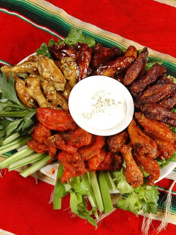 A platter of wings at Coyotes Adobe Cafe and Bar