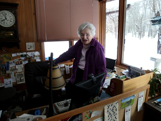Real estate columnist Edith Lank in her home office in Brighton. Lank has spent more than 40 years as a columnist.