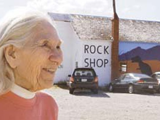 In 2005, Marion Brandvold posed with at her rock shop,
